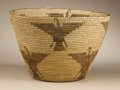 Native American:Pottery and Baskets, Pima Coiled Pictorial Basket. Circa 1920. Height 9 1/2 in. Diameter15 1/4 in.. This tightly woven bowl features flaring s...