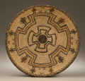 Native American:Pottery and Baskets, Apache Polychrome Pictorial Bowl. Circa 1910. Height 4 in. Diameter15 3/4 in.. This tightly coiled basket is decorated wi...