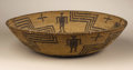 Native American:Pottery and Baskets, Apache Coiled Pictorial Bowl. Circa 1900. Height 3 1/2 in. Diameter14 3/8 in.. This tightly coiled basket has wide flarin...