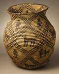 Native American:Pottery and Baskets, Apache Coiled Pictorial Basket. Circa 1910. Height 15 1/2 in.Diameter 13 in.. This olla features a barrel shaped body, a ...