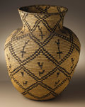 Native American:Pottery and Baskets, Apache Coiled Pictorial Basket. Circa 1920. Height 16 in. Diameter12 1/2 in.. This basket is characterized by its barrel ...