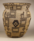 Native American:Pottery and Baskets, Apache Coiled Pictorial Basket. Circa 1920. Height 16 3/8 in.Diameter 14 1/4 in.. This large, tightly coiled olla has a b...