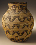 Native American:Pottery and Baskets, Apache Coiled Geometric Basket. Circa 1915. Height 13 5/8 in.Diameter 10 3/4 in.. This basket has a flat base, flaring si...