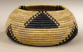 Native American:Pottery and Baskets, Pomo Coiled Gift Basket. Circa 1900. Height 2 3/4 in. Diameter 6in.. This small, tightly coiled, round basket is decorate...