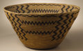 Native American:Pottery and Baskets, Yokuts Coiled Pictorial Basket. Circa 1910. Height 5 3/8 in.Diameter 10 3/4 in.. This deep bowl with curved, flaring side...