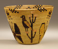 Native American:Pottery and Baskets, Panamint Polychrome Pictorial Basket. Circa 1930. Height 5 in.Diameter 7 in.. This fine and tightly woven coiled pictoria...