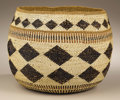 Native American:Pottery and Baskets, Hupa Twined Storage Basket. Circa 1920. Height 8 1/2 in. Diameter11 in.. This finely constructed, twined storage basket i...