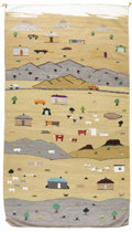 Native American:Textiles, Navajo Pictorial Rug from the Lukachukai region. Length 100 in.Width 60 in.. This charming rug is woven in varying color...