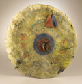 Native American:Weapons, Kiowa Painted Hide War Shield. Circa 1850. Diameter 18 in.. Thisshield is composed of a native tanned hide cover and a bu...
