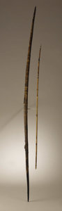 Native American:Weapons, Mimbres Wood Bow and Arrow. Circa 1000-1200 AD. Length 53 3/4 in.the bow; Length 35 in. the arrow. This ancient wooden bo... (Total:2 Items)