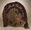 Native American:Weapons, Taos Pueblo Dance Shield. Circa 1890. Diameter 16 1/2 in.. Thislate 19th century shield is made of thin buffalo rawhide (...