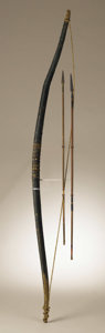 Native American:Weapons, Southern Plains Bow and Arrows. Circa 1860. Length 45 in. bow;Length 27 in. longest arrow. This wood bow is sinew backed ...(Total: 3 Items)