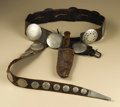 Native American:Weapons, Southern Plains Belt with Knife Case. Circa 1875. Length of belt 46in. Length of belt drop 26 1/2 in.. This commercially ...