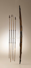 Native American:Weapons, Shoshoni Chief Eagle Eye's Bow and Arrows captured from him inIdaho Territory, 1868. Circa 1868. Length 34 in. the bow; Len...(Total: 5 Items)