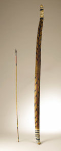 Native American:Weapons, Mojave Bow and Arrow. Circa 1880. Length 54 1/2 in.. This wood bowfrom the California desert region has curved tips and i... (Total:2 Items)