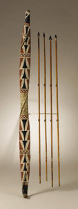 Native American:Weapons, Modoc Painted Wood Bow with four arrows. Circa 1880. Length 36 in.bow; Length of arrows 30 1/2 in. the longest. This carv... (Total:5 Items)