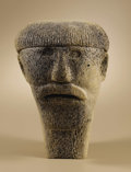 Native American:Textiles, Whalebone Carving - Head of an Inuit Man. Circa 1968. Height 10in.. Beginning in the 1960s the Canadian government assis...