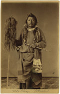 Photographs, Cabinet Card - Studio portrait of Ute Chief Johnson. Circa 1870. Length 6 1/2 in. Width 4 1/4 in.. He is holding a pipeste... (Total: 1 Item Item)