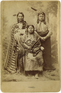 """Cabinet Card - A studio portrait of two Mandan warriors and a woman, """"Bismarck Mary"""" Circa 1880 Length 6 1/2 i..."""