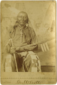 Cabinet Card - Portrait of the Long Dog (Sioux) Taken at Fort Yates Circa 1885 Length 6 1/2 in. Width 4 1/4 in.  Long Do...