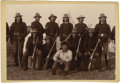 Native American:Photography, Cabinet Card - Field photograph of Cheyenne Scouts. Circa 1884. Length 4 1/4 in. Width 6 in.. This photo depicts eleven me...