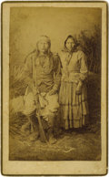 Photographs, Boudoir Card - Studio portrait of Nachez (son of Cochise) and his wife. Spring, 1884. Length 8 1/2 in. Width 5 1/4 in.. Th... (Total: 1 Item Item)