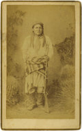 Photographs, Boudoir Card - Studio portrait of Chatto, Chiricahua Apache. Spring, 1884. Length 8 1/2 in. Width 5 1/4 in.. Chatto is pos... (Total: 1 Item Item)