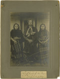 Photographs, Cabinet Size Photo Mounted on Gray Card Stock - Quanah Parker and Wives. Circa 1892. Length 8 in. Width 5 3/4 in.. The f... (Total: 1 Item Item)