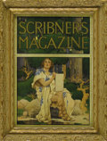 Prints:American, MAXFIELD PARRISH (American 1870 - 1966). Scribner's Magazine CoverIllustration. Man with Scroll. Print on paper (P.F.Co...