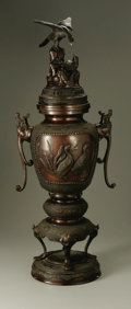 Other:American, Property of Other Owners. JAPANESE, Twentieth century. LargeCovered Censer. Bronze. 32in. x 12in. x 9in.. ...