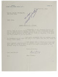 """Autographs:Authors, Sean O'Casey Typed Letter Signed """"Sean O'Casey."""" 8"""" x 10"""",one page letter, dated November 23, 1951, written from Devo..."""