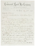 Miscellaneous:Other, 1878 Continental Banknote Company President's Letter Regarding ...