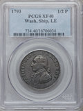 Colonials: , 1793 1/2P Washington Ship Halfpenny, Copper, Lettered Edge XF40PCGS. PCGS Population (33/166). NGC Census: (10/38). (#73...