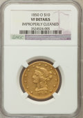 Liberty Eagles, 1850-O $10 -- Improperly Cleaned -- NGC Details. VF. NGC Census:(2/175). PCGS Population (2/125). Mintage: 57,500. Num...