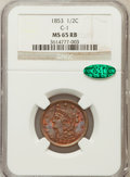 Half Cents, 1853 1/2 C MS65 Red and Brown NGC. CAC. C-1, B-1, R.1....