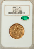 Liberty Eagles, 1887 $10 MS61 NGC. CAC....