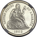 Seated Dimes, 1863 10C MS65 NGC....
