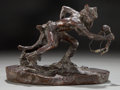 Sculpture, CHARLES MARION RUSSELL (American, 1864-1926). The Wolf Man, 1917. Bronze. 5-1/2 inches (14.0 cm). Ed. 12/30. Signed and ... (Total: 2 Items)