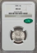 Liberty Nickels: , 1890 5C MS64 NGC. CAC. NGC Census: (118/59). PCGS Population(151/64). Mintage: 16,259,272. Numismedia Wsl. Price for probl...