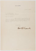 Autographs:Authors, Hal G. Evarts (1887-1934, American Screen Writer). Typed Letter Signed. Very good....