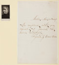 Autographs:Authors, Augusta Evans Wilson (1835-1909, American Novelist). AutographLetter Signed. Mounted to paper. Very good....