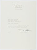 Autographs:Authors, Rupert Hughes (1872-1956, American Writer). Typed Letter Signed. Near fine....