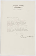 Autographs:Authors, Richard Hughes (1900-1976, British Writer). Typed Letter Signed. Very good....