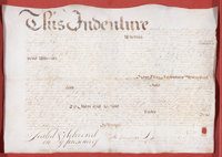 INDENTURE 18th century 15-1/2 x 22-1/4 inches (39.4 x 56.5 cm) Legal Document, Manuscript with red wax seal