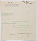 Autographs:Authors, Horatio Bottomley (1860-1933, British Writer). Typed Letter Signed. Very good....