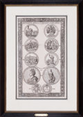 Prints, HISTORICAL MEDALS OF QUEENS ANNE'S REIGN . 12 x 7-1/2 inches (30.5x 19.1 cm). Etching. Elton Hyder III Collection Formerl...