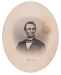 Prints, ABRAHAM LINCOLN MEMORIAL ENGRAVING. 1865. Print of the assassinatedsixteenth President. 56 x 40-3/4 inches (142.2 x 103.4 c...