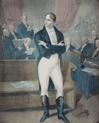 British School (19th Century) Trial of Robert Emmet Lithograph in colors on paper 24-1/4 x 17-3/4 inches (61.6 x 45.1