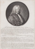 Prints, NOTICE ISSUED BY JOHN BARNARD, LORD MAYOR OF LONDON. John Boydell, Circa 1737. 14-1/2 x 11 inches (36.8 x 27.9 cm). Engraved...