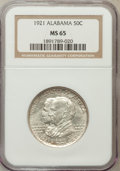 Commemorative Silver: , 1921 50C Alabama MS65 NGC. NGC Census: (368/80). PCGS Population(427/83). Mintage: 59,038. Numismedia Wsl. Price for probl...